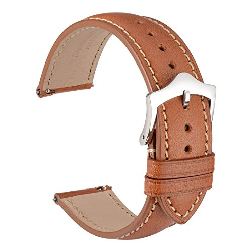 WOCCI 22mm Quick Release Watch Band,Gold Brown Full Grain Leather Watch Strap with Taper Buckle(Contrasting Stitching)