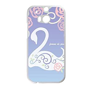 Elegant Swan And flowers personalized creative custom protective phone case for HTC M8 wangjiang maoyi