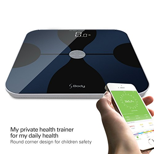S Body Bluetooth Body Fat Scale, Smart Digital Scale with Large Hidden LED Display, Body Composition Monitor, Free APP Works with IOS and Android for Measuring for Weight, ITO Conductive Surface Tech