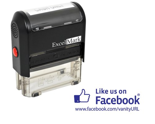 ExcelMark Self Inking Like Us On Facebook URL Stamp - BLUE ink