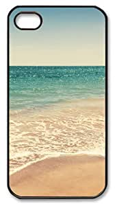 Art Fashion Black PC DIY Case for iPhone 4 Generation Back Cover Case for iPhone 4S with Seascape