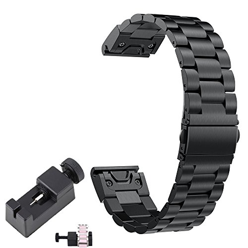 [New] Fenix 5 Band Metal Easy Fit TenCloud Replacement Business Style Stainless Steel Watchband 22mm for Garmin Fenix 5 Smartwatch(Black Metal)