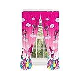 Trolls Poppy Kids Room Window Curtain Panels with Tie Backs, 82' x 63', Pink
