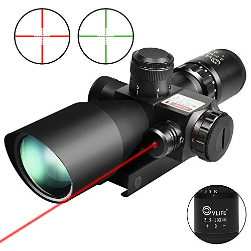 CVLIFE 2.5-10x40e Red & Green Illuminated Scope with 20mm Mount (Best Ar 10 Sniper Rifle)