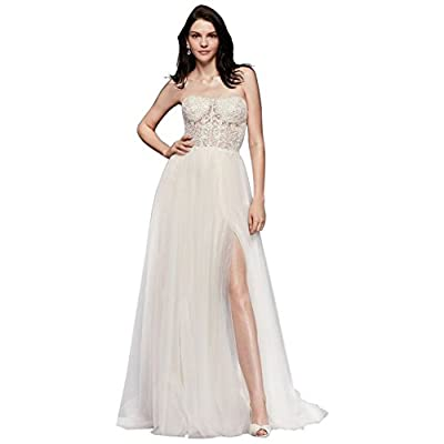 David's Bridal Strapless Wedding Dress With Tulle Slit Skirt Style SWG764