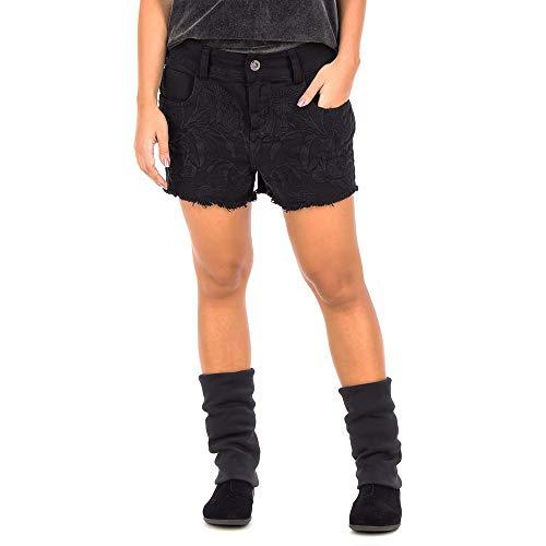 Shorts Flores - Preto - Tamanho 36