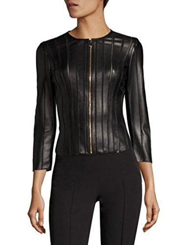 SID Womens Fringed Layered Lambskin Leather Jacket, Biker Jacket