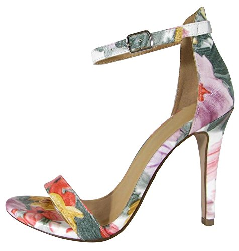Cambridge Select Womens Open Toe Single Band Buckle Thin Ankle Strappy Stiletto High Heel Dress Sandal Yellow/Pink Floral Pu VtSp5