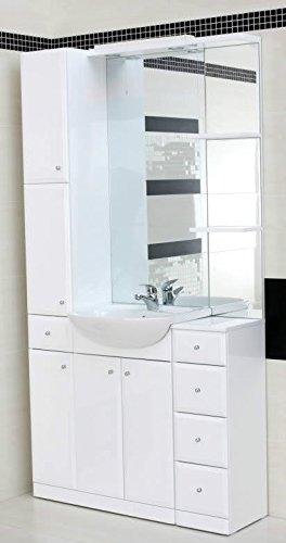Waschbecken Mit Schrank weiß kombination spiegel schrank badmöbel waschbecken keramik 1000 5