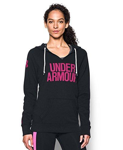 Under Armour Women's Favorite Fleece Word Mark Popover, Black/Tropic Pink, X-Small