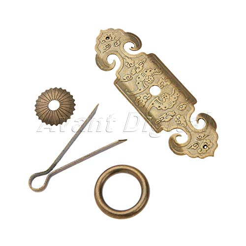 (Mercury_Group, Antique Retro Vintage Pulls Knobs, Chinese Traditional Classical Totem Cabinet Dresser Drawer Brass Pull Handles PC)