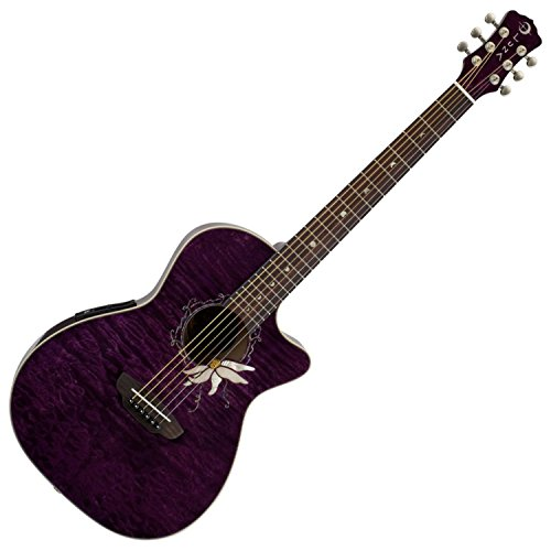 Luna Flora Series Passion Flower Quilted Maple Cutaway Acoustic-Electric Guitar - Transparent Purple