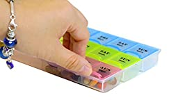 21 Compartments Pill Organizer Box, Medicine Remainder with Snap Lids| 7-day AM/PM for Pills, Vitamins. (6038 2pcs)