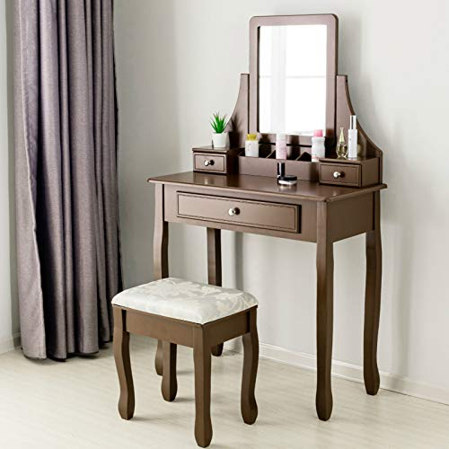 (Mecor Vanity Table Set w/Square Mirror,Dressing Table Cushioned Stool&3 Drawers,3 Removable Dividers Bedroom Makeup Table Brown)
