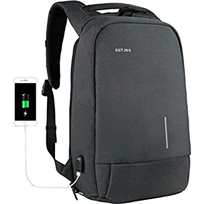 Anti-Theft Laptop Backpack for Men -Business Work Travel with USB Charging Port Fits 15.6