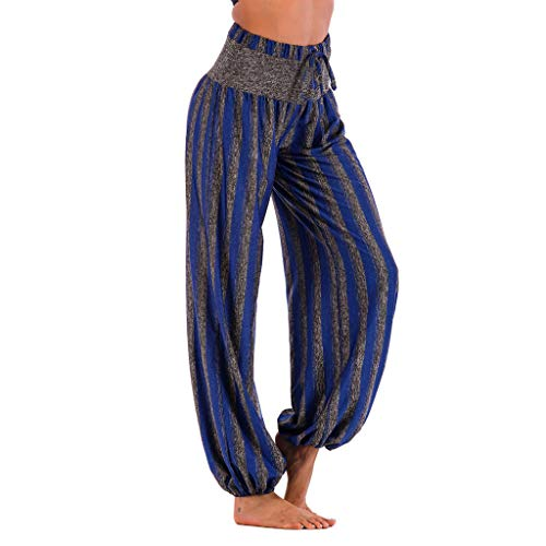 iYBUIA Loose Striped Print Yoga Pant Casual High Waist Leggings Bloom Trousers -