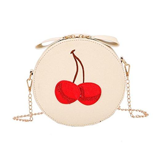 Handbags VEMOW Women Girl Anti Theft Messenger Vintage Strap Purse Tote Crossbody Bag Satchel Bags Purses Backpacks Shoulder Bags Clutches, Round Ladies Cherry Print Beige