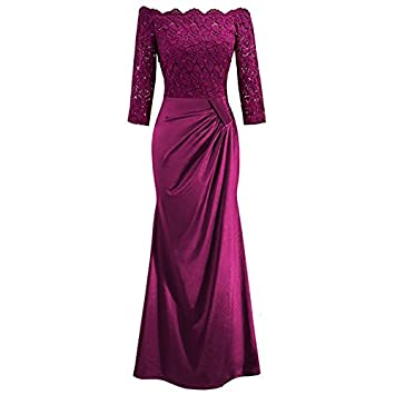 5533a76be Lamdoo Vestido Largo de Encaje para Mujer con Cuello Plisado de Boda y Dama  de Honor