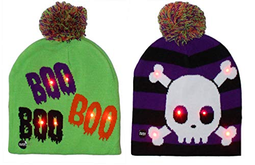 Gilbin 2 Pack Halloween Light up Costume Beanie Hat Cap One Size Fits Most Cute and Festive! -