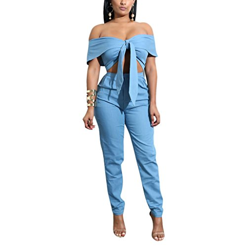 Metup 2 Piece Outfits for Women Tie Knot Off The Shoulder Crop Top Casual Long Pants Set Clubwear Lake Blue L