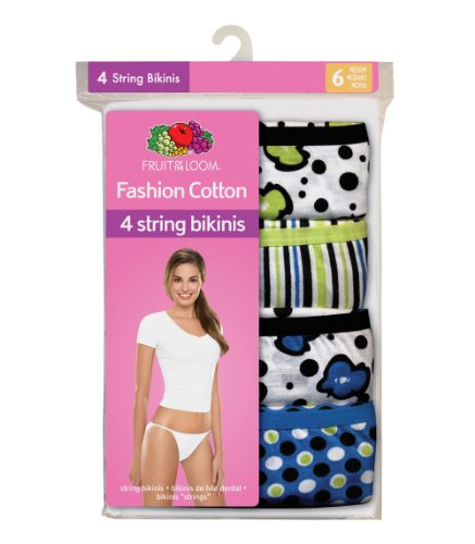 488a7b165438 Fruit of the Loom Women's 4-Pack Cotton Fashion String Bikini ...
