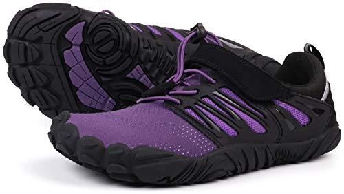 JOOMRA Barefoot Trail Running Shoes Women Purple Minimalist Barefoot Crossfit Runner Athletic Hiking Trekking Gym Wide Breathable Toes FiveFingers Workout Sneakers Size 7