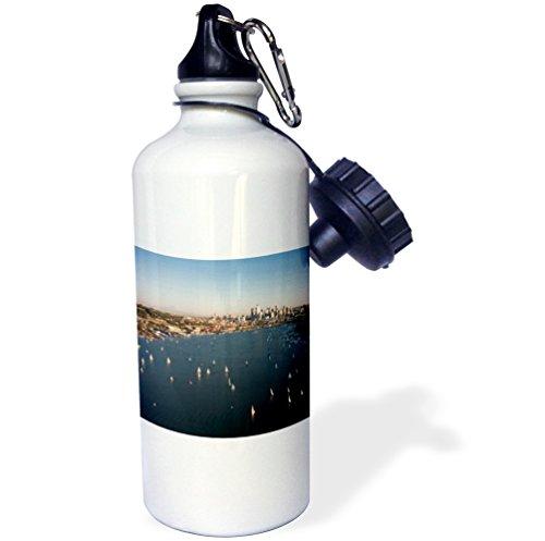 3dRose wb_95715_1''Seattle, Washington, Sailboats on Lake Union US48 GPR0087 Greg Probst'' Sports Water Bottle, 21 oz, White by 3dRose