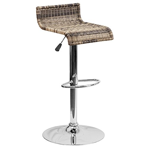 Flash Furniture Contemporary Wicker Adjustable Height Barstool with Chrome Base