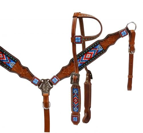 Showman beaded overlay Red White and Blue Bridle Breast collar set. Comes with Headstall / Bridle, split reins, and matching breast collar