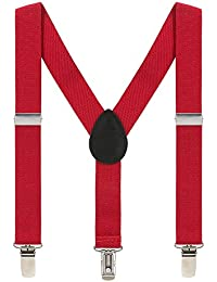 Kids Suspenders for Boys Girls 2-8 Years, 1 Inch Adjustable Elastic Y Back Clip Suspenders for Children (Red)
