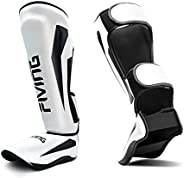 FIVING MMA Martial Arts Shin Guards – Padded, Adjustable Muay Thai Leg Guards with Instep Protection for Kickb