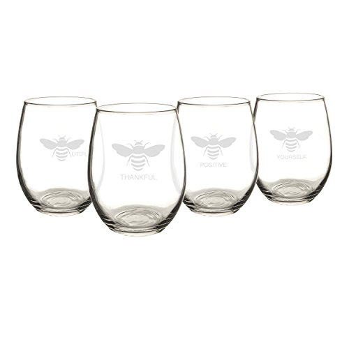 Cathy's Concepts Bee Thankful Stemless Wine Glasses (Set of 4)
