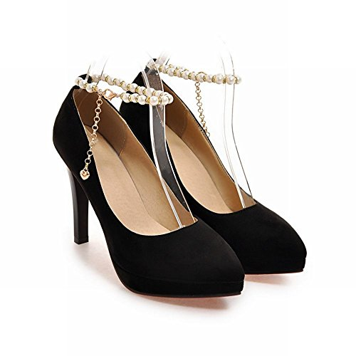 Mee Shoes Damen Stiletto Plateau ankle strap Pumps Schwarz