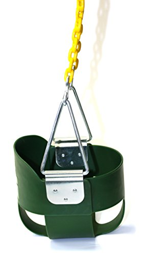 Eastern Jungle Gym Heavy-Duty High Back Full Bucket Toddler Swing Seat with Coated Swing Chains Fully Assembled