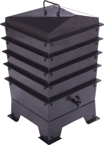 4 Tray Tiger Wormery: Easy Access Composter, includes Worms. Black
