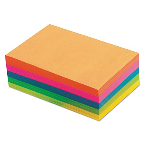 TOPS 99622 Fluorescent Color Memo Sheets, 20 lb, 4 x 6, Assorted (Pack of 500 Sheets)