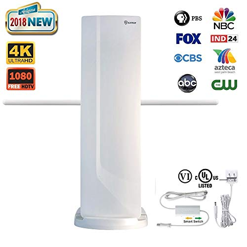 ANTOP Outdoor TV Antenna with VHF Enhanced and Smartpass Amplifier 70 Miles Multi-Directional Reception Supports VHF & UHF signals (Multi Antenna Directional Hdtv Uhf)
