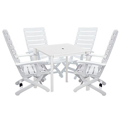 Kettler Tiffany 5-Piece Patio Furniture Set. Includes 4-Piece, 16-Position Chairs (Kettalux Resin)