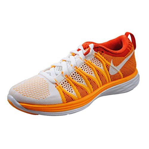 Women's Nike Flyknit Lunar2 Running Shoes. Size 11. WHITE/WHITE-LASER ORANGE-TEAM ORANGE