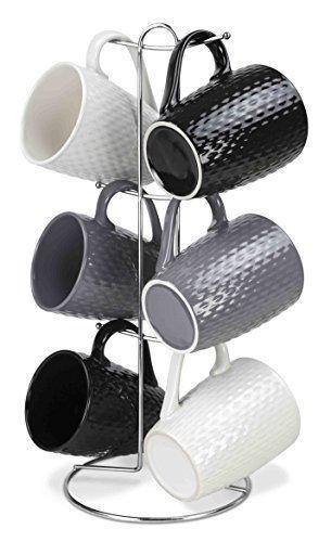 Home Basics 7 Piece Diamond Mug Set 6 11 oz Mugs and Mug Stand in Black, Gray and White Add A Fun and Stylish Decorative Display For Your Kitchen