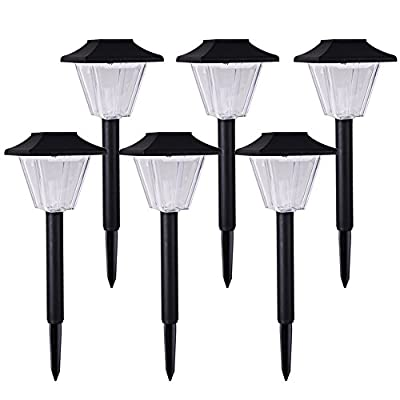 Voona 6-Pack Solar-powered Square Outdoor Garden Lights Black Plastic Landscape Lights for Pathway Patio Yards