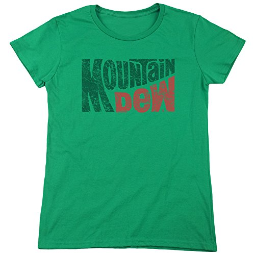 Mountain Dew Wavy Logo Women's T Shirt Kelly Green