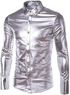 Camisa De Hombre Metálico Brillante Camisa De Manga Larga Brillo Slim Fit Disfraz para Discoteca Fiesta Baile Disco Halloween Cosplay,Plata,XXL: Amazon.es: Deportes y aire libre