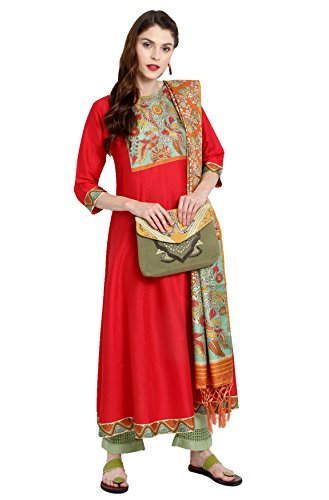 Janasya Indian Tunic Tops Poly Silk Kurti with Dupatta for Women (JNE2223-KR-480-DUPATTA-A-XXL) Red