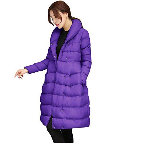Mose Clearance Women Coat Winter Women Warm Jacket Cotton Belt Thicker Long Parka Outwear (Purple, XL)