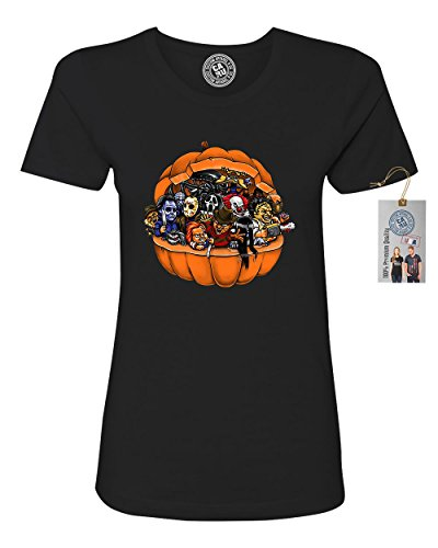 Pumpkin Halloween Scary Characters Womens Short Sleeve T Shirt Black Small
