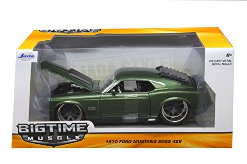 NEW 1:24 W/B JADA TOYS BIG TIME MUSCLE COLLECTION - GREEN 1970 FORD MUSTANG BOSS 429 Diecast Model Car By Jada Toys - Mustang Boss 429 Model