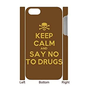 3D IPhone 4/4s Cases Keep Calm and Say no to Drugs for Guys, Iphone 4s Case for Guys [White]