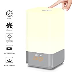 Wake Up Light Alarm Clock,EECOO Sunrise Alarm Clock with 5 Nature Sounds,USB Rechargeable Touch Control Atmosphere Lamp Multicolor Dimmable Night Light for Bedside,Table,Gift