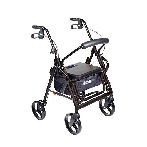Drive Duet Dual Function Transport Wheelchair Rollator Rolling Walker, Black, Model - 795BK (Duet Drive Walker)